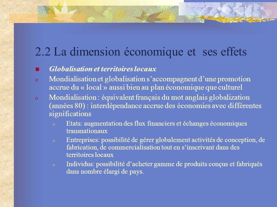 2.2 La dimension économique et ses effets
