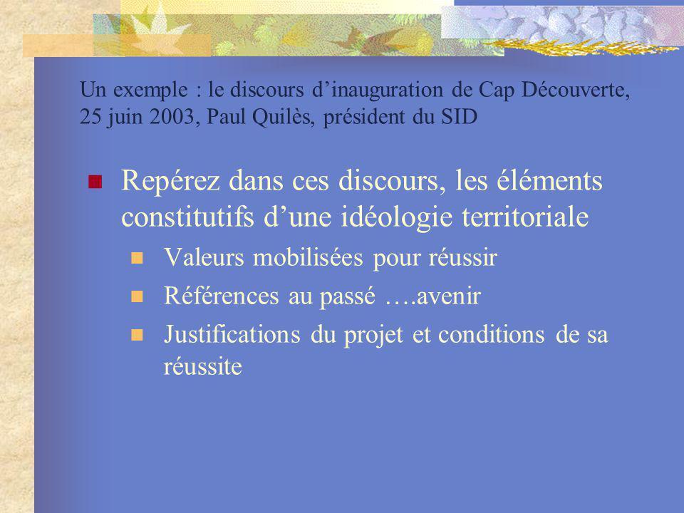 Un exemple : le discours d'inauguration de Cap Découverte, 25 juin 2003, Paul Quilès, président du SID