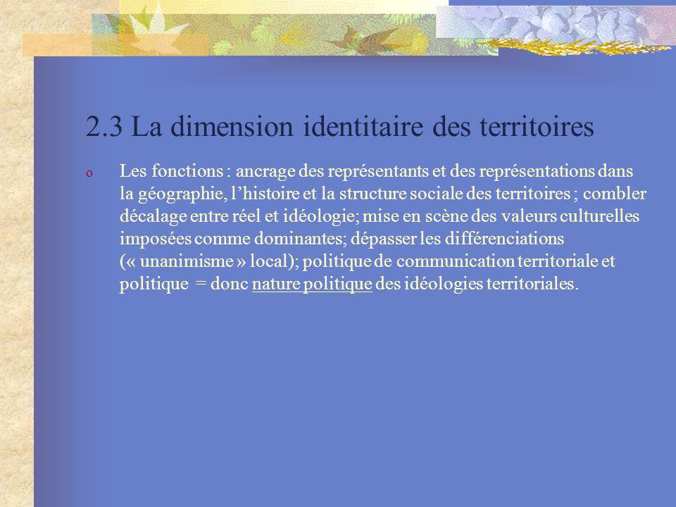 2.3 La dimension identitaire des territoires
