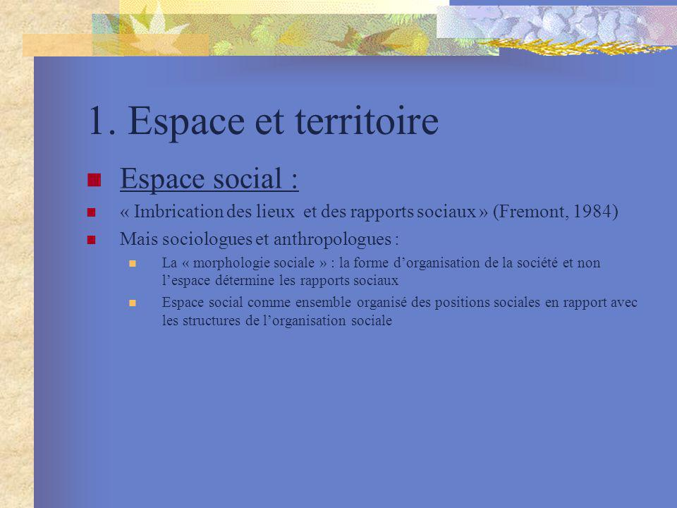 1. Espace et territoire Espace social :