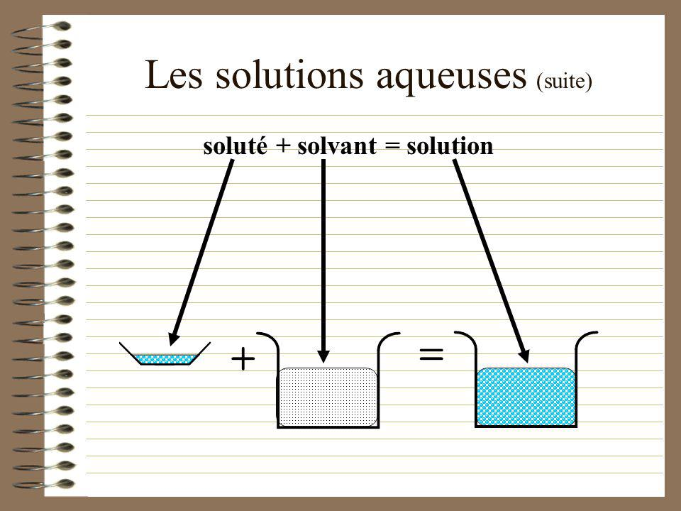 Les solutions aqueuses (suite)