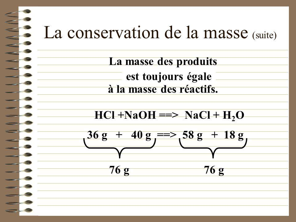 La conservation de la masse (suite)