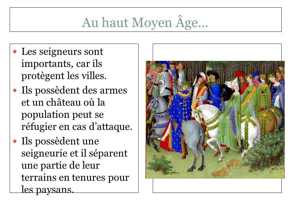 Au haut Moyen Âge… Les seigneurs sont importants, car ils protègent les villes.