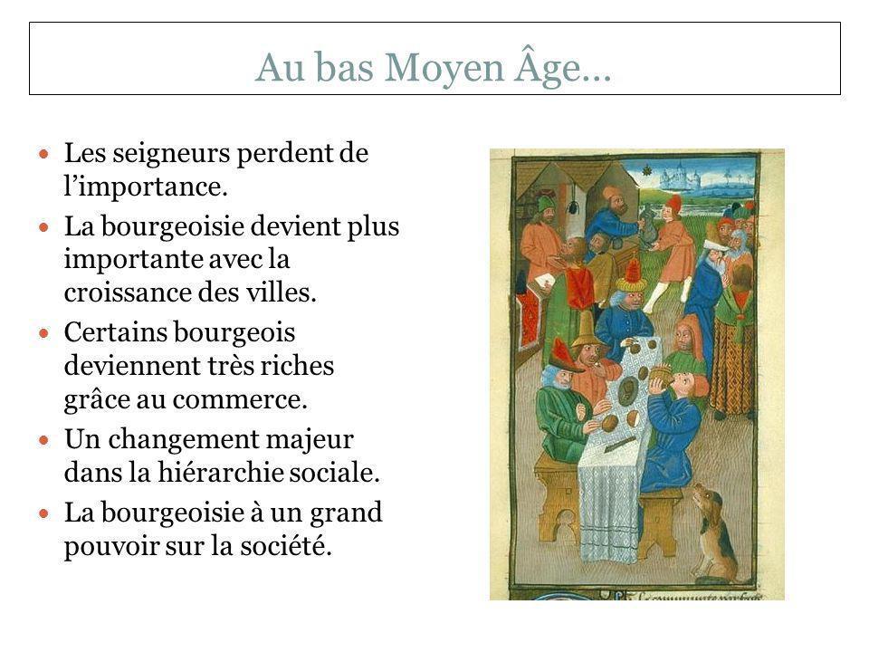 Au bas Moyen Âge… Les seigneurs perdent de l'importance.