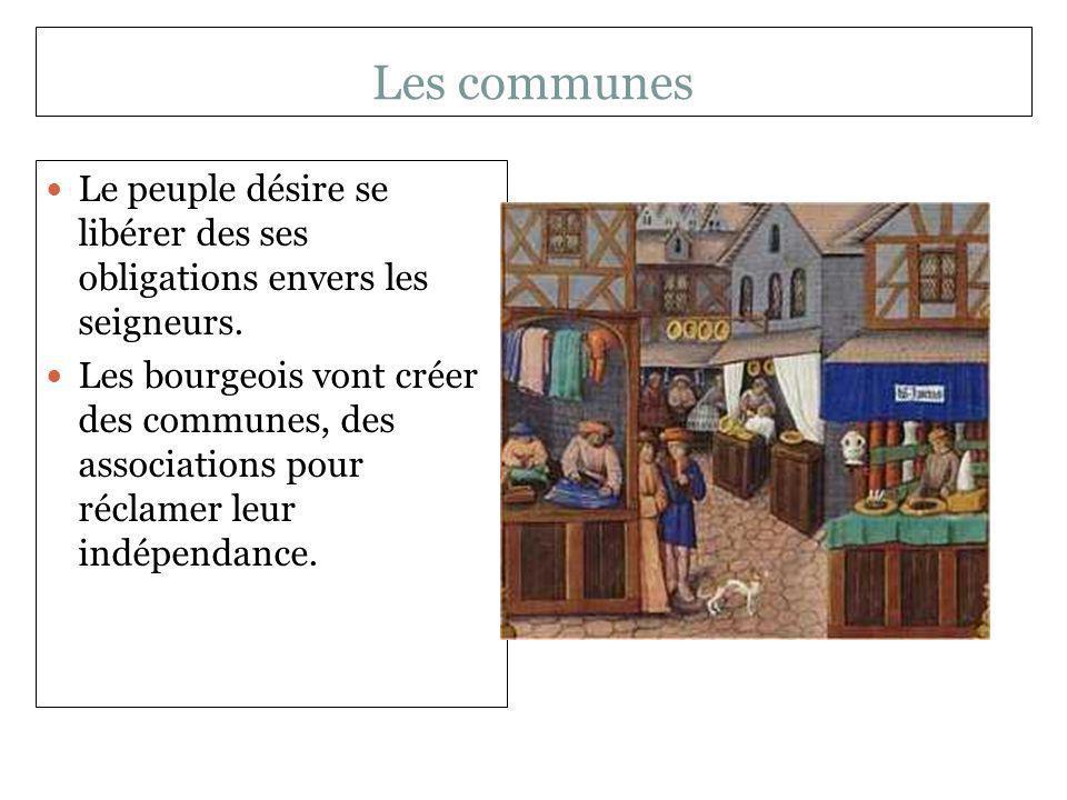 Les communes Le peuple désire se libérer des ses obligations envers les seigneurs.