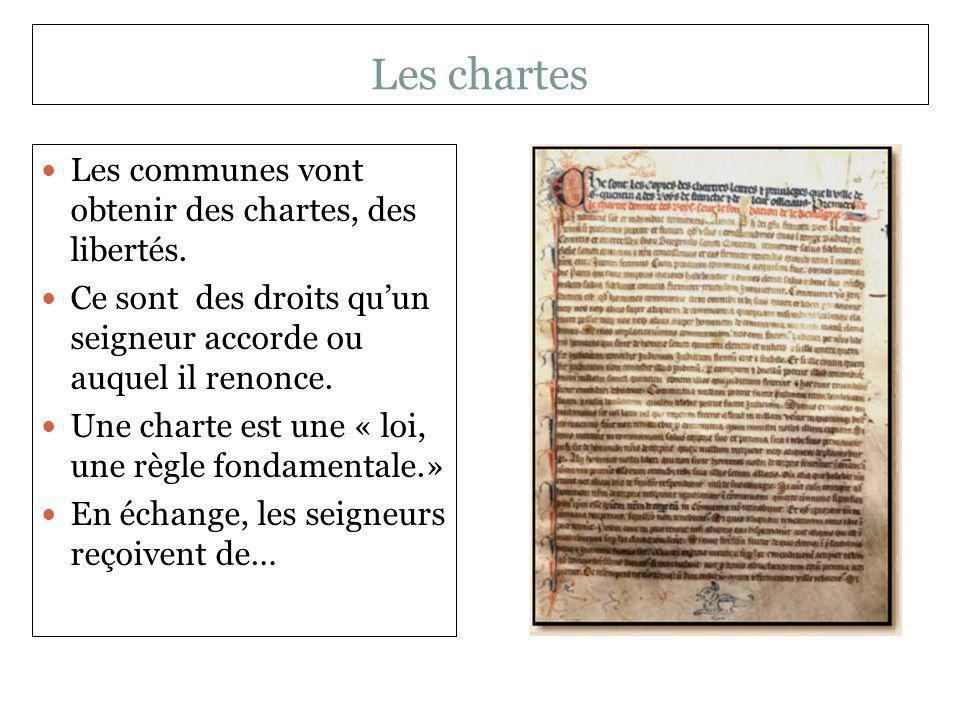 Les chartes Les communes vont obtenir des chartes, des libertés.