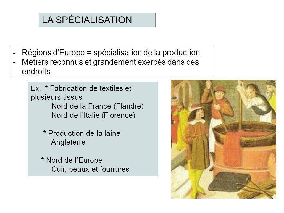 LA SPÉCIALISATION Régions d'Europe = spécialisation de la production.