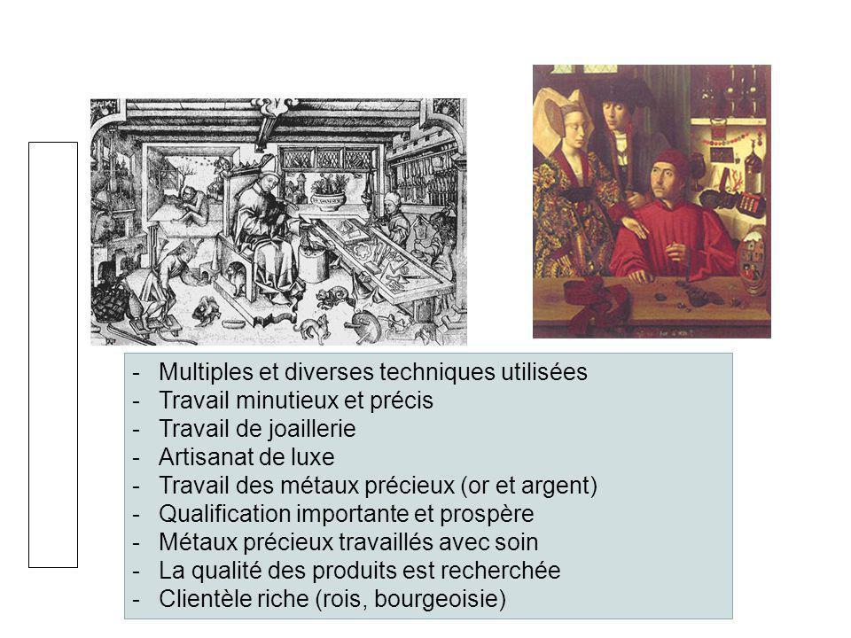 L'orfèvre Multiples et diverses techniques utilisées