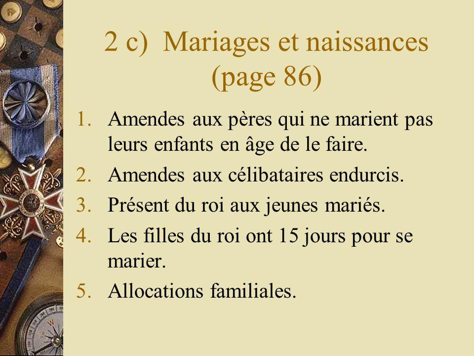 2 c) Mariages et naissances (page 86)