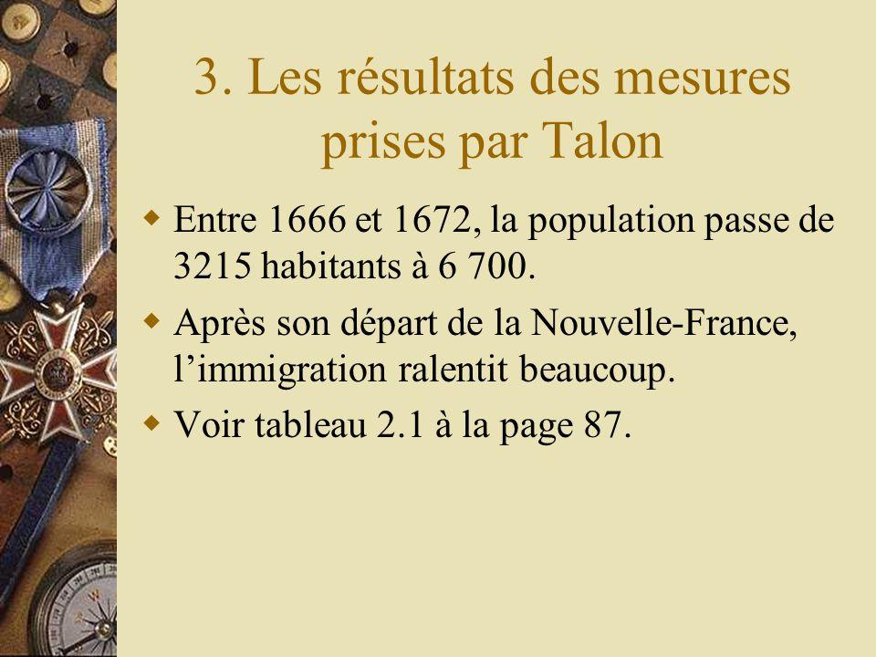 3. Les résultats des mesures prises par Talon
