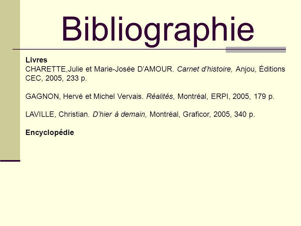 Bibliographie Livres. CHARETTE,Julie et Marie-Josée D'AMOUR. Carnet d'histoire, Anjou, Éditions CEC, 2005, 233 p.