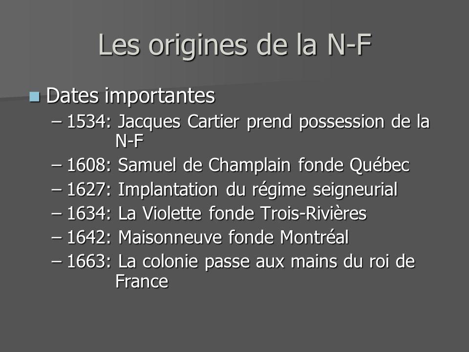 Les origines de la N-F Dates importantes