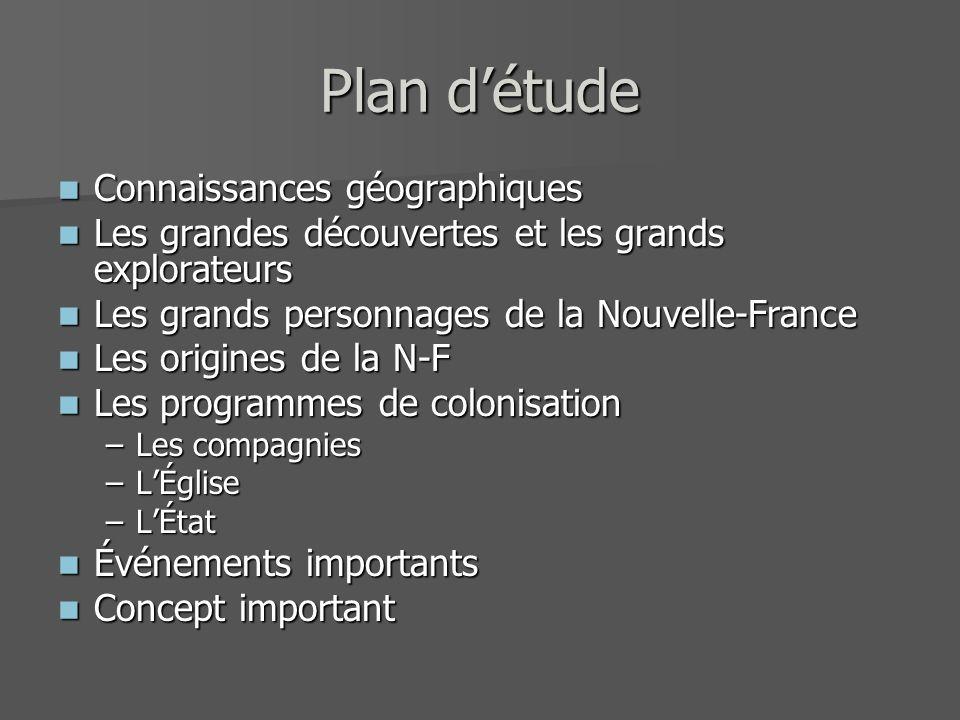 Plan d'étude Connaissances géographiques