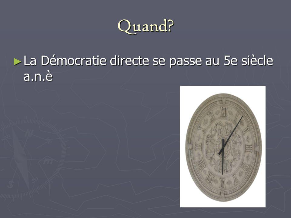Quand La Démocratie directe se passe au 5e siècle a.n.è