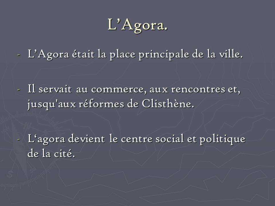L'Agora. L'Agora était la place principale de la ville.