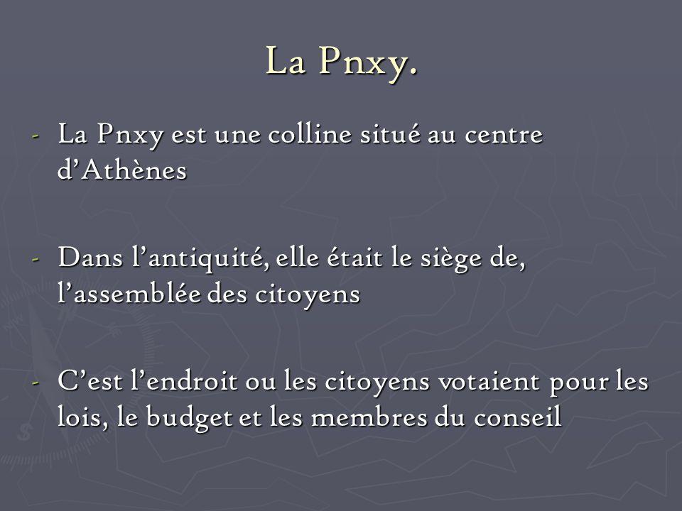 La Pnxy. La Pnxy est une colline situé au centre d'Athènes