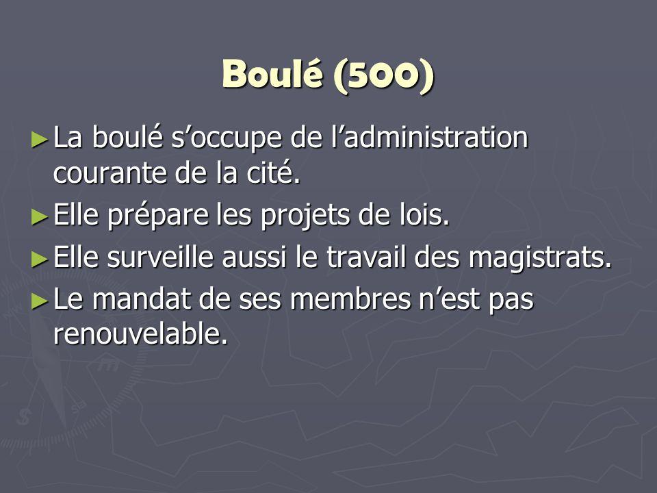 Boulé (500) La boulé s'occupe de l'administration courante de la cité.