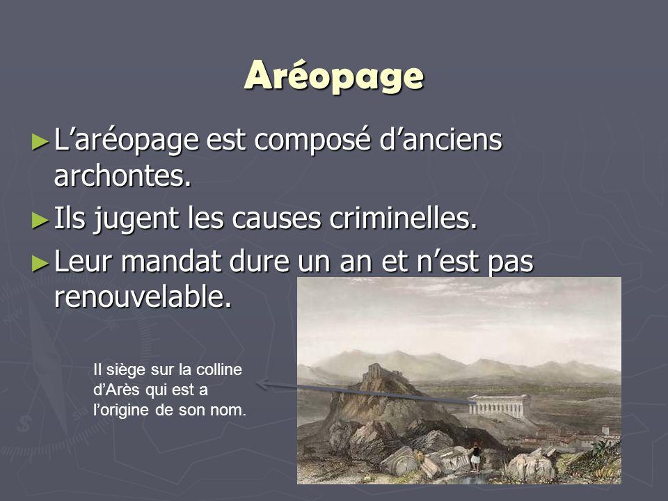 Aréopage L'aréopage est composé d'anciens archontes.
