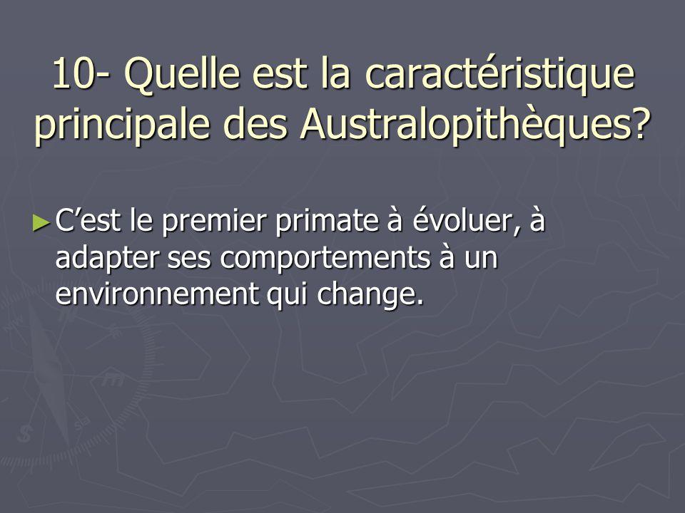 10- Quelle est la caractéristique principale des Australopithèques