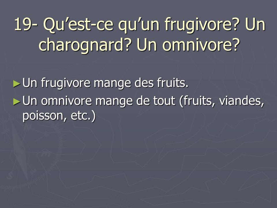 19- Qu'est-ce qu'un frugivore Un charognard Un omnivore