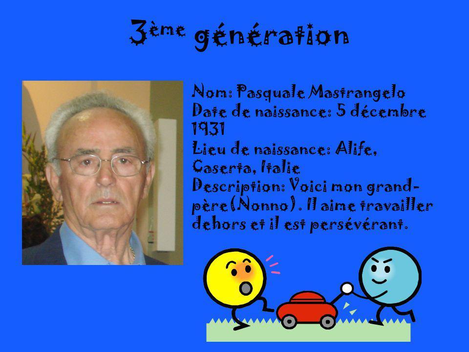 3ème génération Nom: Pasquale Mastrangelo