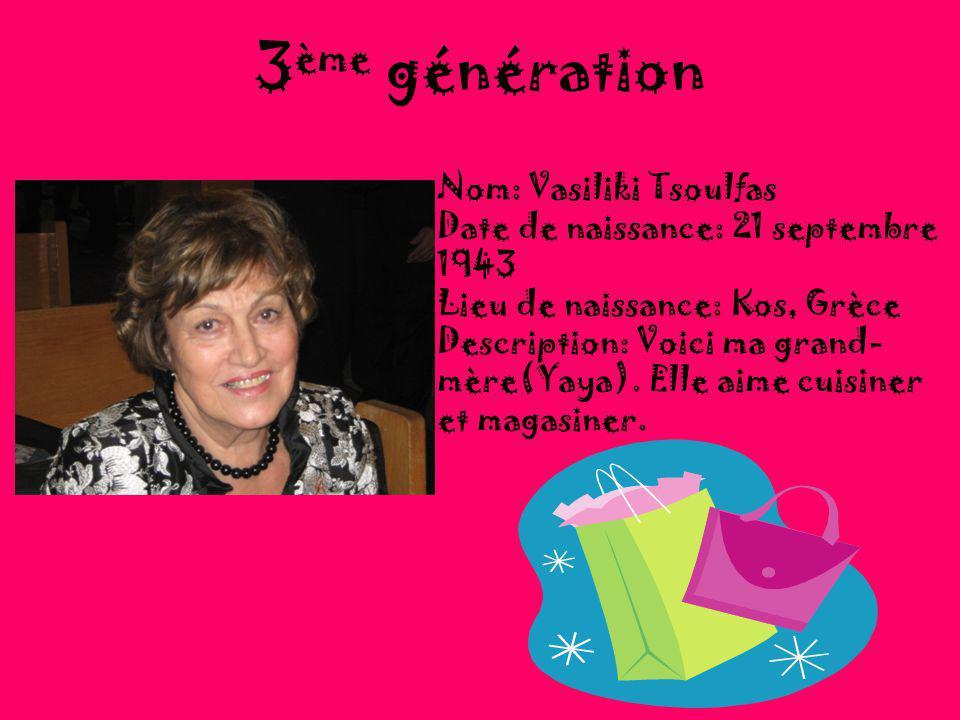 3ème génération Nom: Vasiliki Tsoulfas