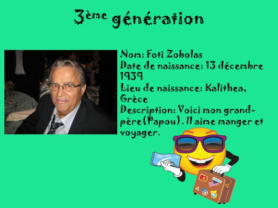 3ème génération Nom: Foti Zobolas Date de naissance: 13 décembre 1939