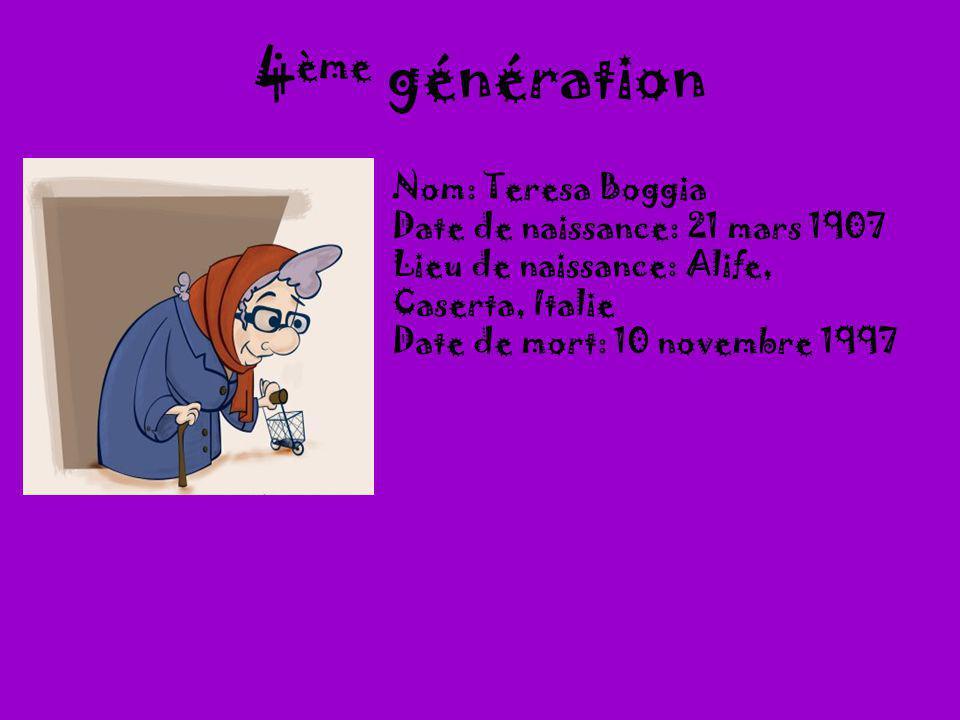 4ème génération Nom: Teresa Boggia Date de naissance: 21 mars 1907