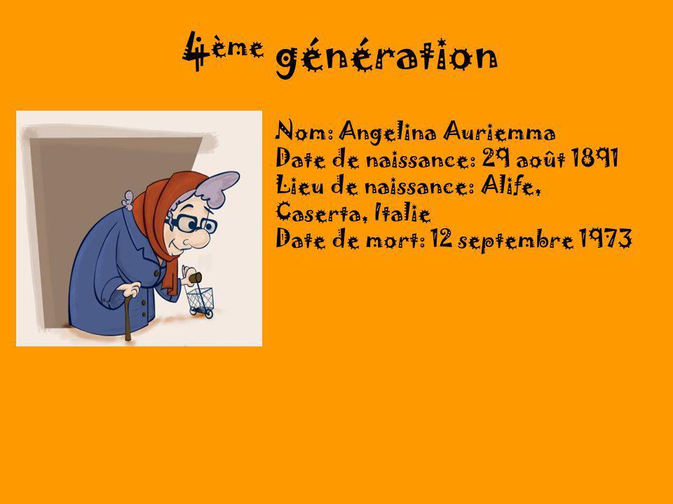 4ème génération Nom: Angelina Auriemma Date de naissance: 29 août 1891