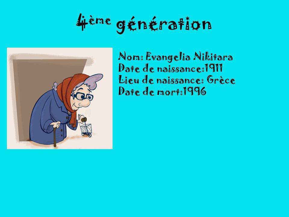 4ème génération Nom: Evangelia Nikitara Date de naissance:1911