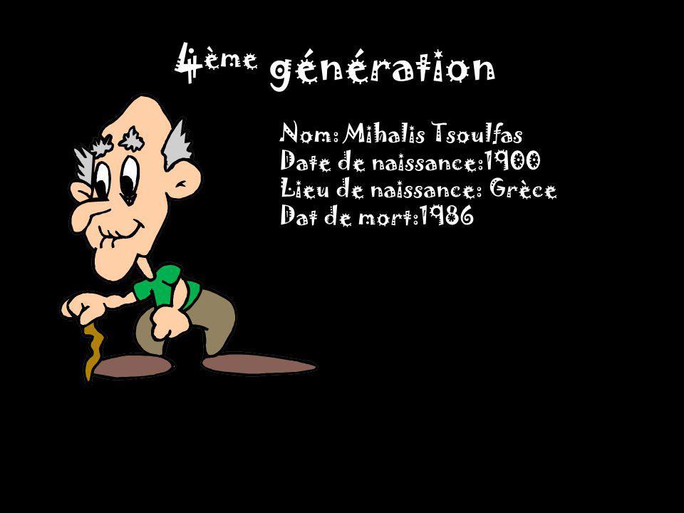 4ème génération Nom: Mihalis Tsoulfas Date de naissance:1900