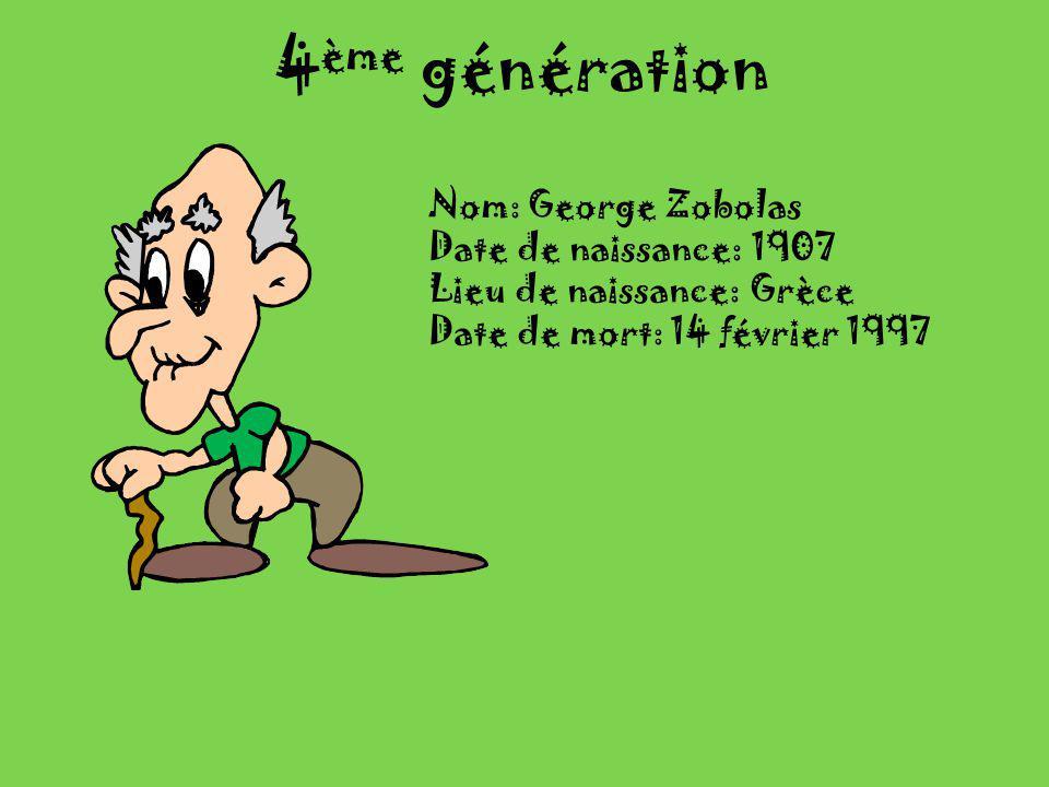 4ème génération Nom: George Zobolas Date de naissance: 1907