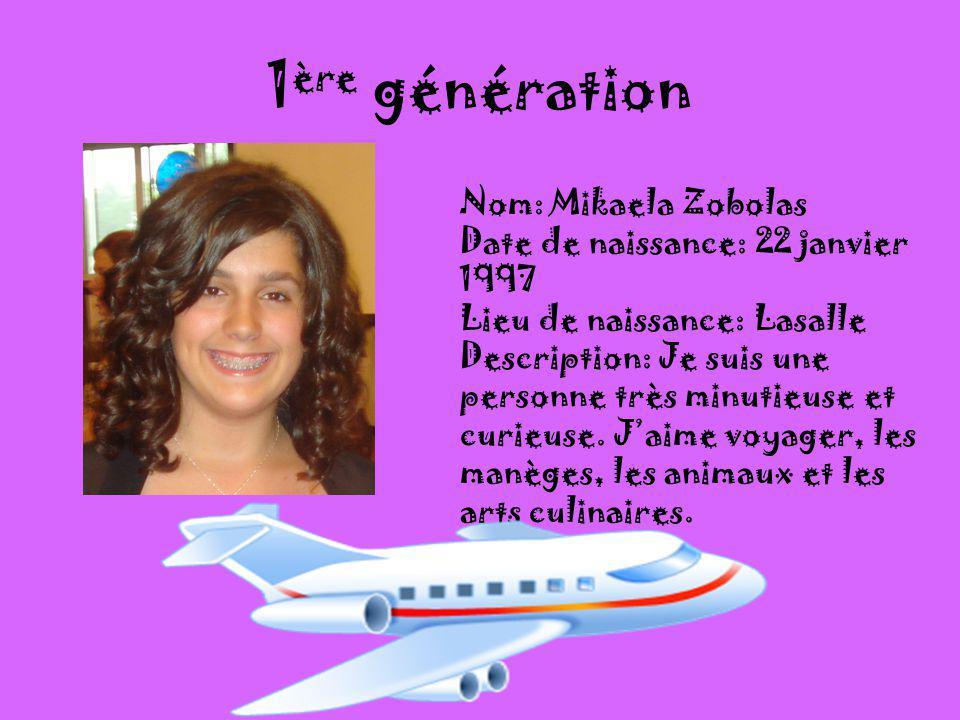 1ère génération Nom: Mikaela Zobolas