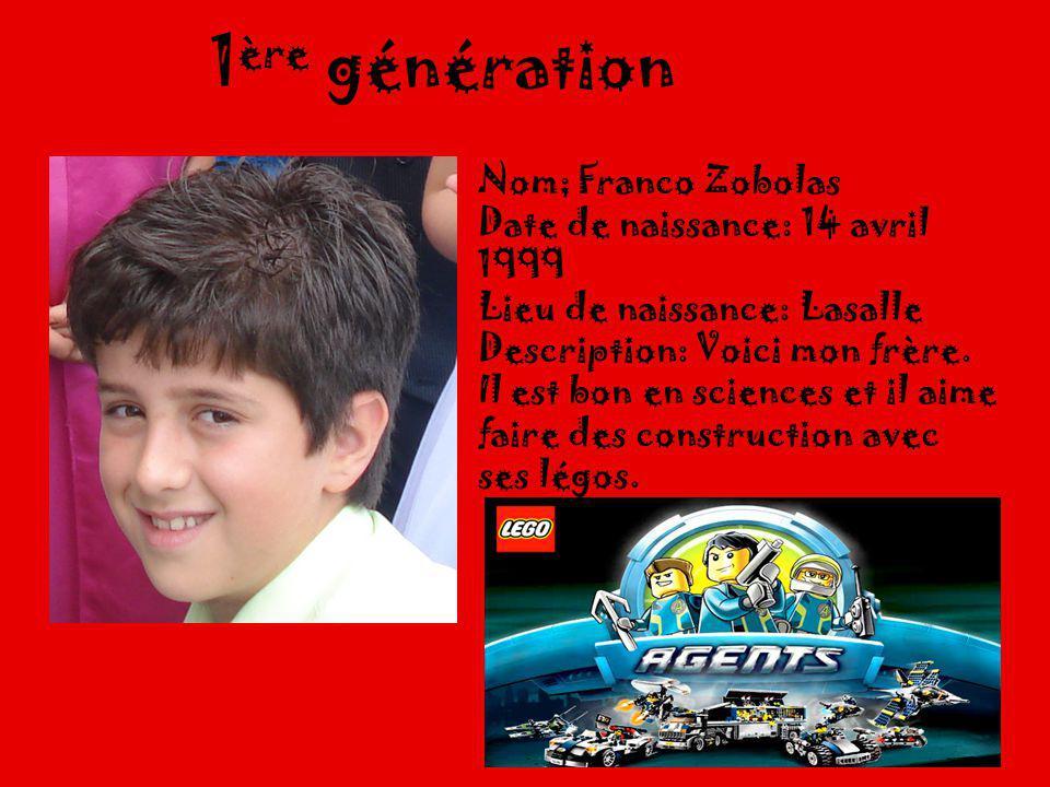1ère génération Nom; Franco Zobolas Date de naissance: 14 avril 1999