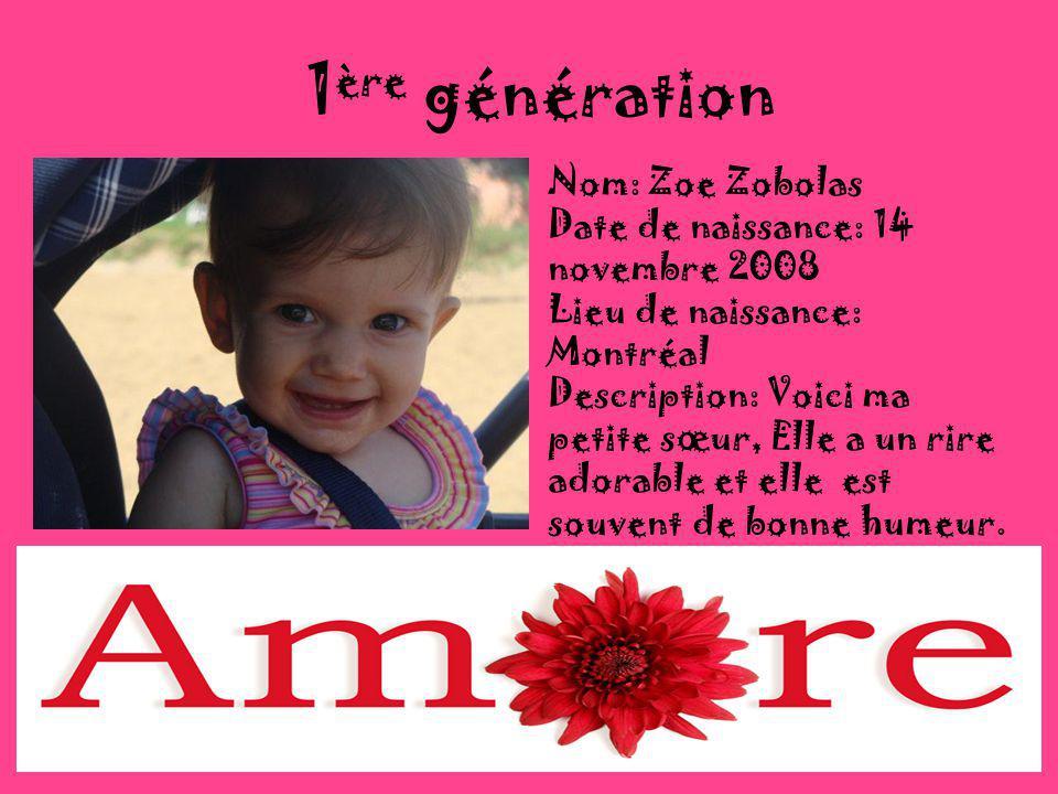 1ère génération Nom: Zoe Zobolas Date de naissance: 14 novembre 2008
