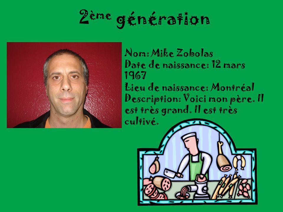 2ème génération Nom: Mike Zobolas Date de naissance: 12 mars 1967