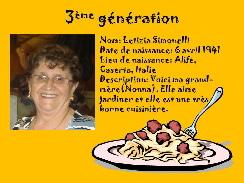 3ème génération Nom: Letizia Simonelli Date de naissance: 6 avril 1941
