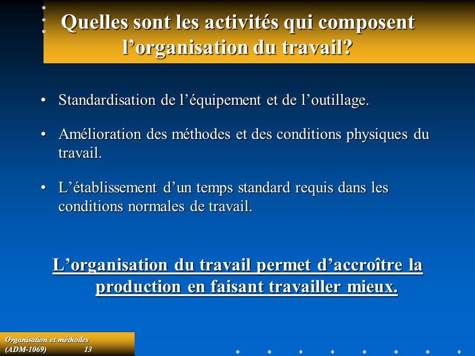 Quelles sont les activités qui composent l'organisation du travail