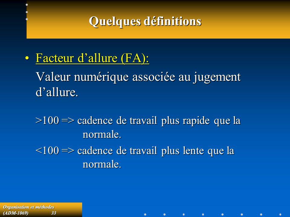Facteur d'allure (FA): Valeur numérique associée au jugement d'allure.