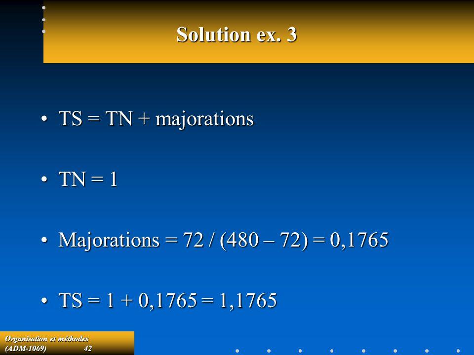 Solution ex. 3 TS = TN + majorations. TN = 1. Majorations = 72 / (480 – 72) = 0,1765.