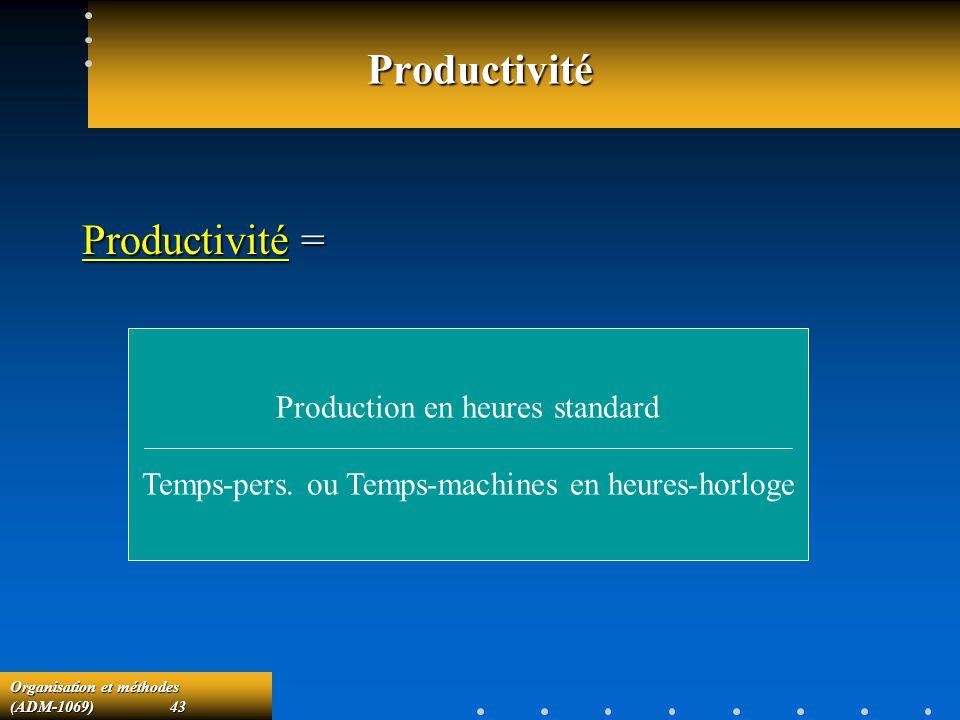 Productivité Productivité = Production en heures standard