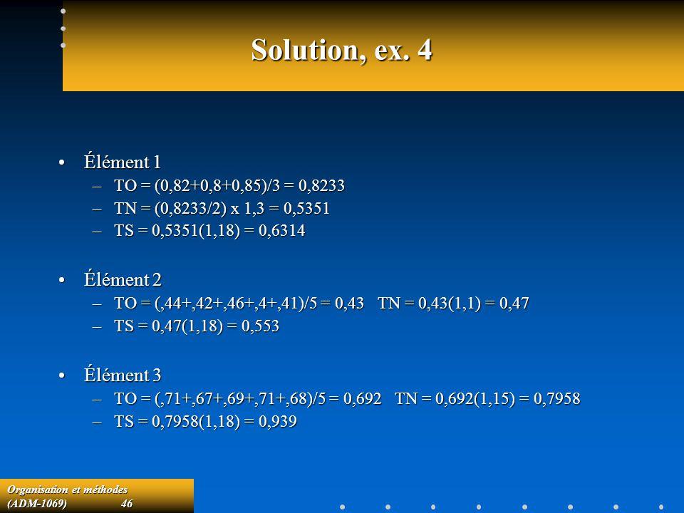 Solution, ex. 4 Élément 1 Élément 2 Élément 3