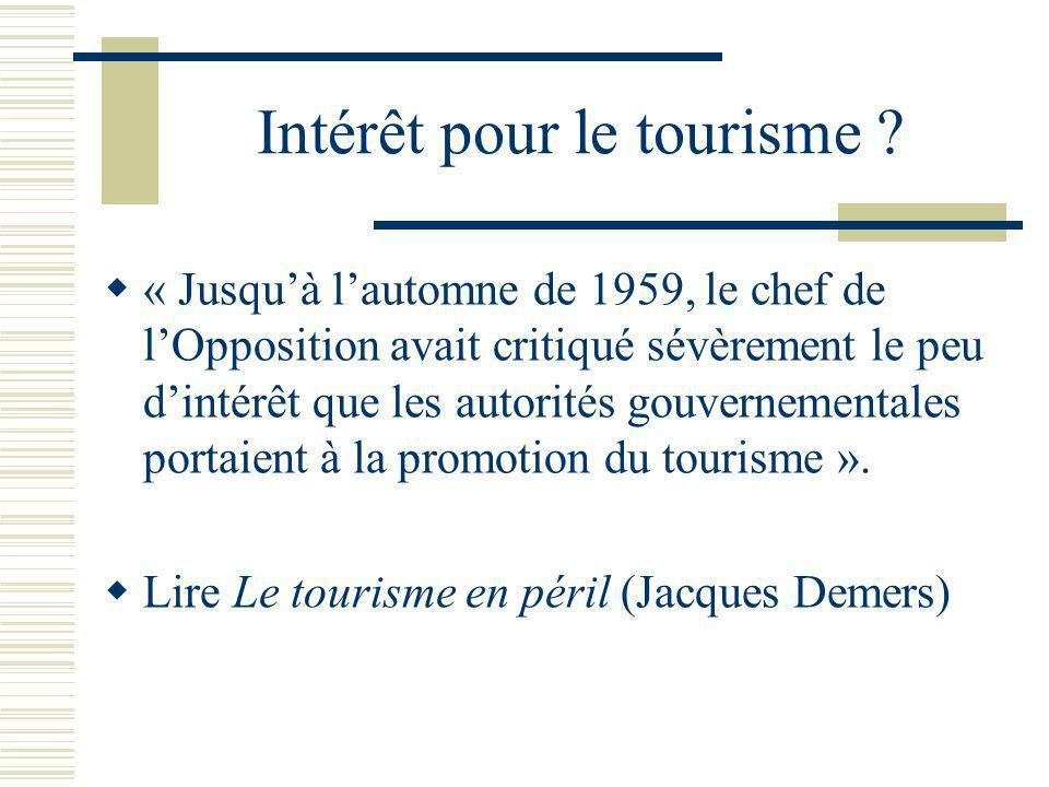 Intérêt pour le tourisme