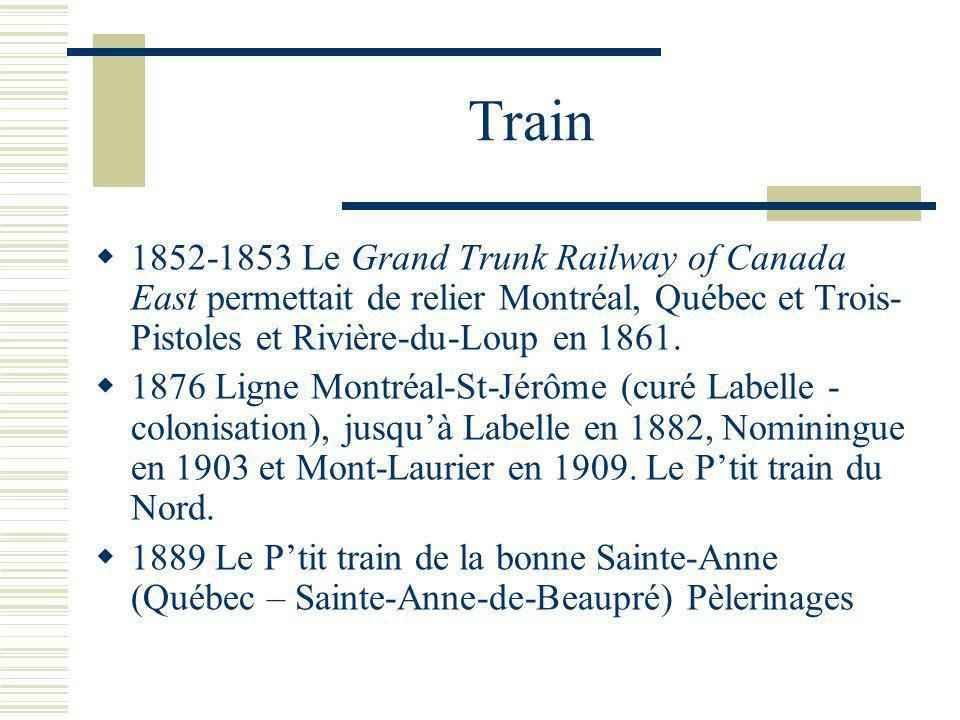 Train 1852-1853 Le Grand Trunk Railway of Canada East permettait de relier Montréal, Québec et Trois-Pistoles et Rivière-du-Loup en 1861.