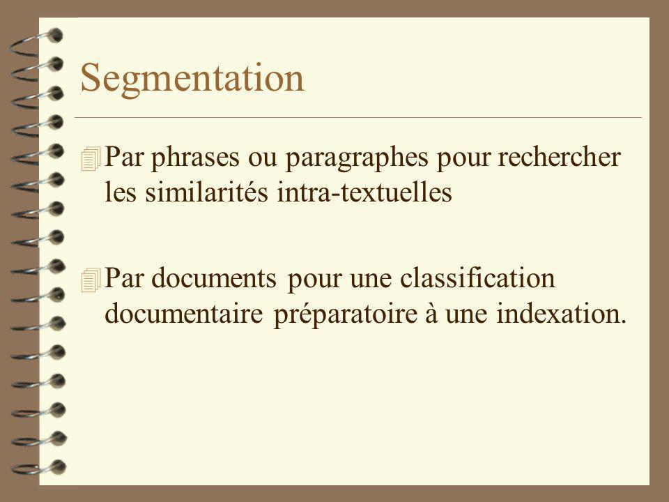 Segmentation Par phrases ou paragraphes pour rechercher les similarités intra-textuelles.