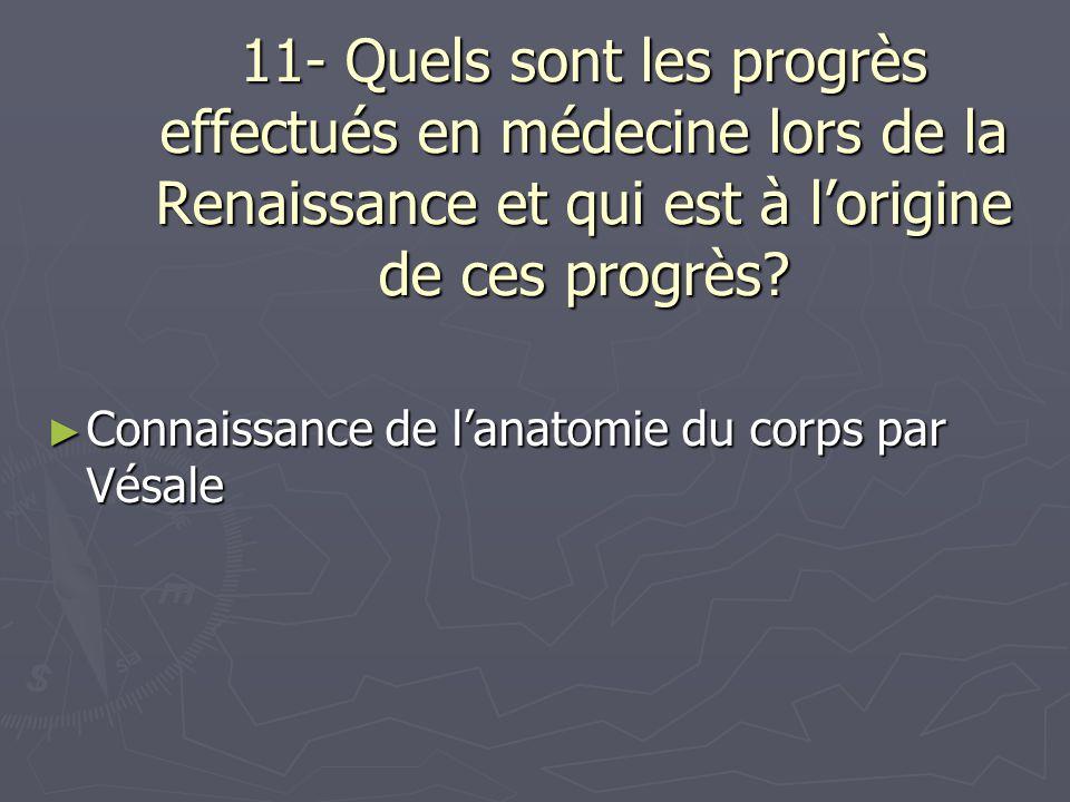 11- Quels sont les progrès effectués en médecine lors de la Renaissance et qui est à l'origine de ces progrès