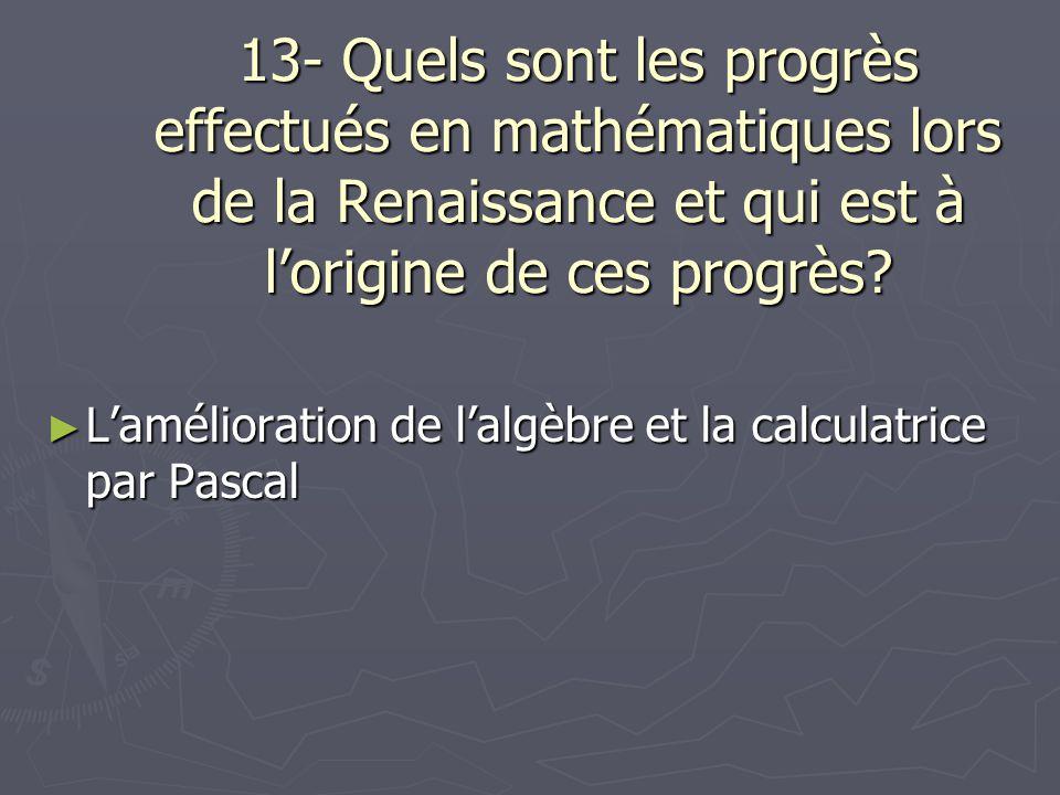 13- Quels sont les progrès effectués en mathématiques lors de la Renaissance et qui est à l'origine de ces progrès