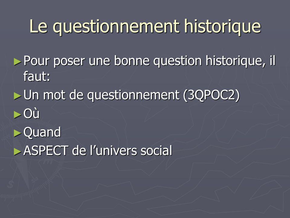 Le questionnement historique