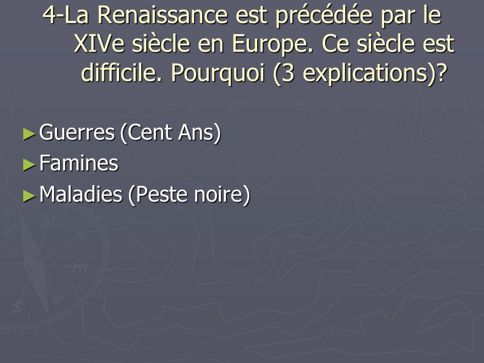 4-La Renaissance est précédée par le XIVe siècle en Europe