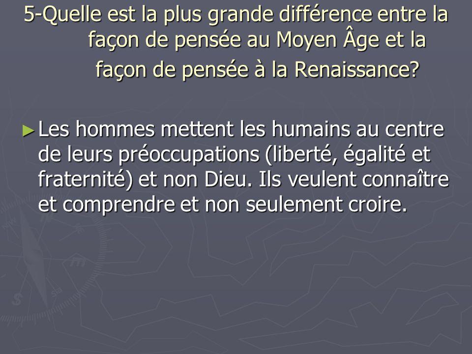 5-Quelle est la plus grande différence entre la façon de pensée au Moyen Âge et la façon de pensée à la Renaissance